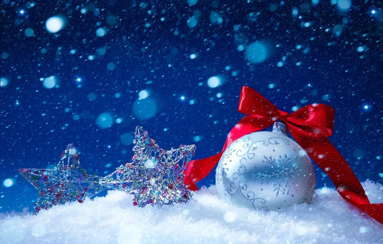 Photo wallpaper winter, stars, snow, new year, ball, ribbon, Christmas decorations