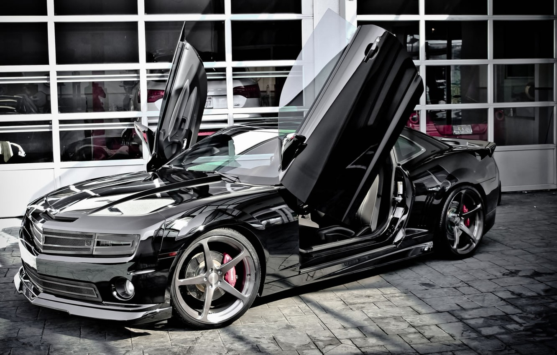 Photo wallpaper Chevrolet, black, Camaro, Lambo doors