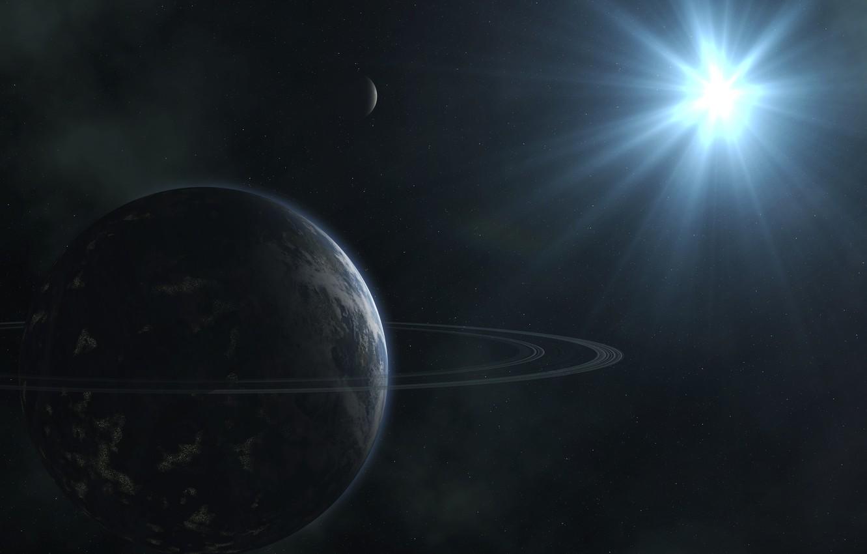 Photo wallpaper rays, star, planet, ring, stars
