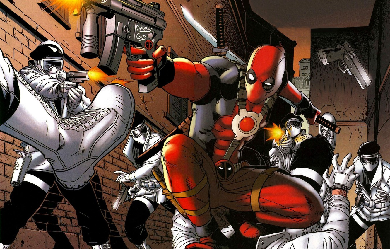 Photo wallpaper gun, marvel, comics, deadpool, heroes