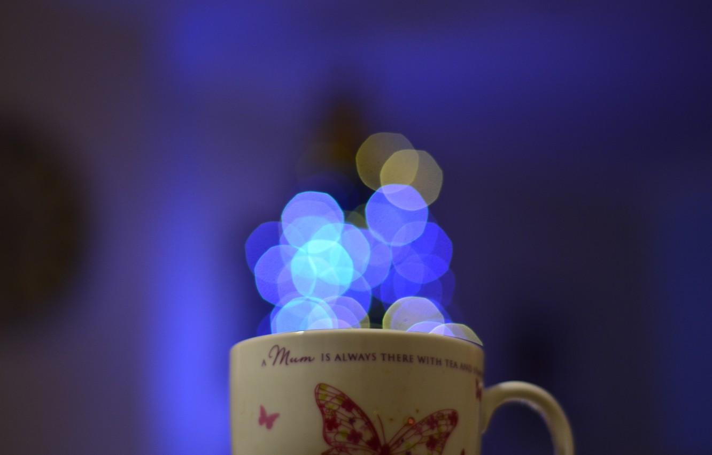 Photo wallpaper lights, background, mug, bokeh
