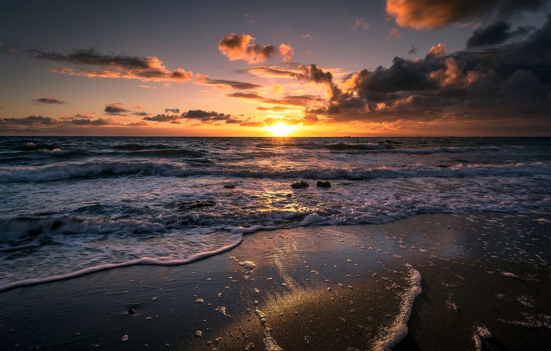 Photo wallpaper sand, wave, beach, foam, the ocean, morning