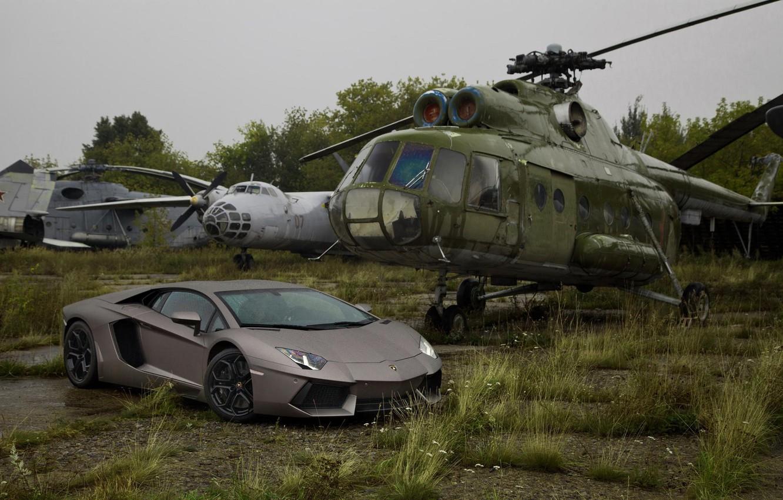 Photo wallpaper Lamborghini, Lamborghini, Helicopter, Supercar, Grey, LP700-4, Aventador, Aventador