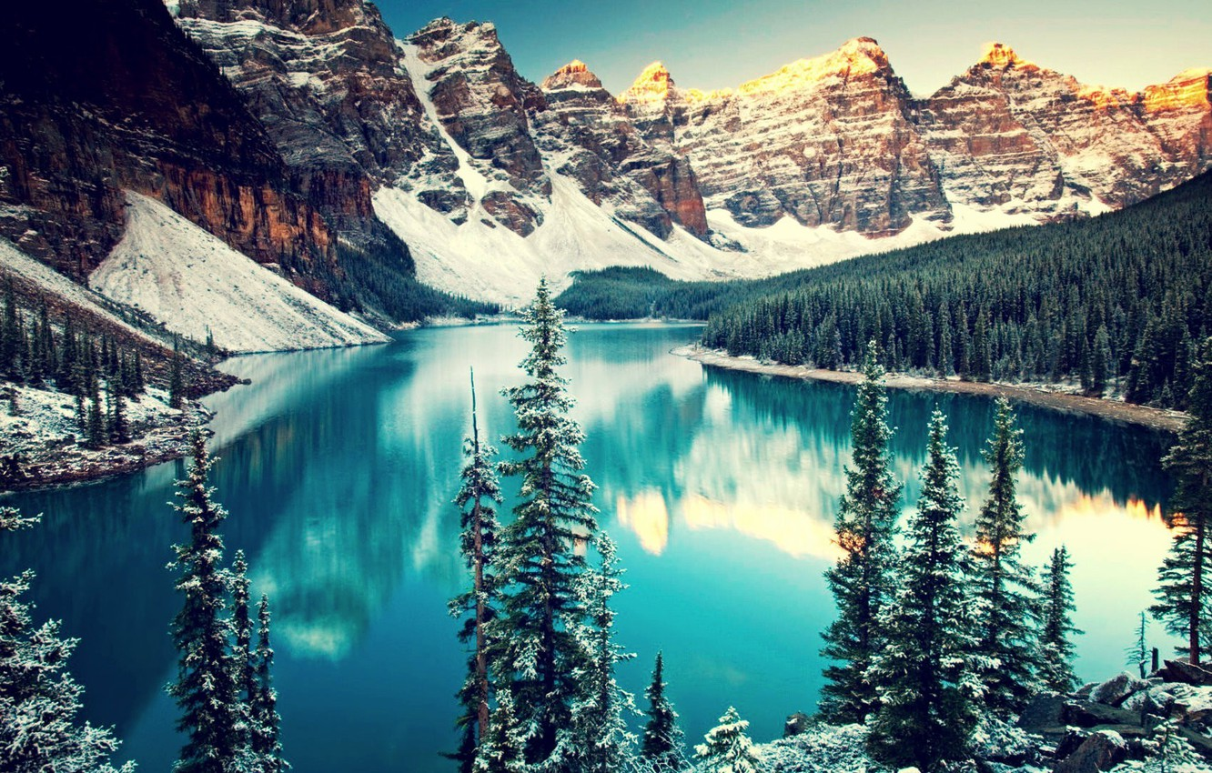 Photo wallpaper water, landscape, mountains, lake, trees, nature, winter, mountains, snow, lakes, canada, mountains. water