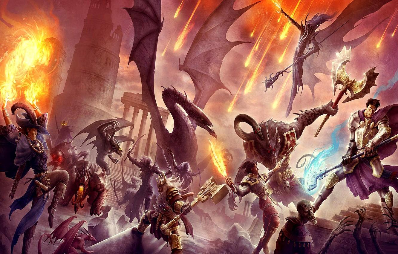 Wallpaper People Dragons Elves Monsters Dwarves Battle Underworld War Art Fantasy Battle Art Images For Desktop Section Fantastika Download