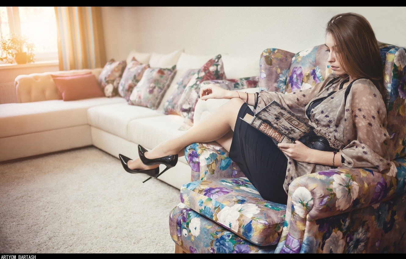 Photo wallpaper girl, interior, chair, book, legs, sitting, photographer, reading, Artyom Bartash