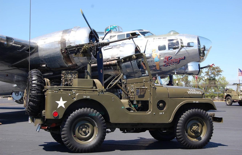 "Photo wallpaper SUV, car, army, B-17G, 1955, Jeep, bombardirovshik, high, patency, ""jeep М38А1"", Willys M38A1"