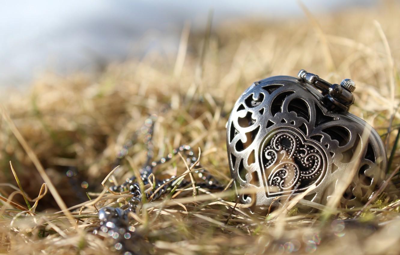 Photo wallpaper grass, heart, pendant, decoration, engraving