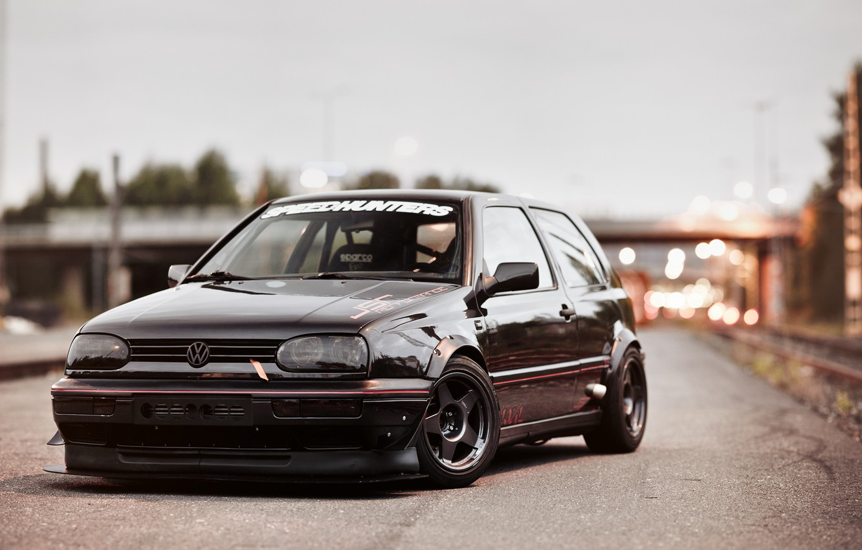Photo wallpaper black, tuning, volkswagen, before, black, Golf, golf, Volkswagen, MK3