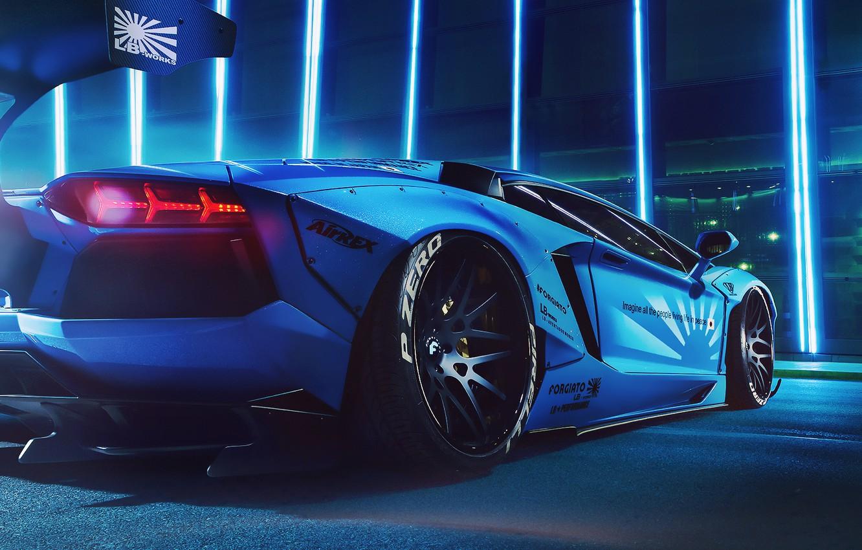 Photo wallpaper lights, Lamborghini, Blue, LP700-4, Aventador, Liberty Walk