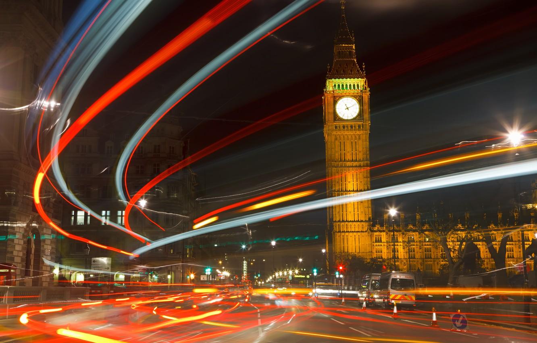 Photo wallpaper night, the city, lights, England, London, big Ben