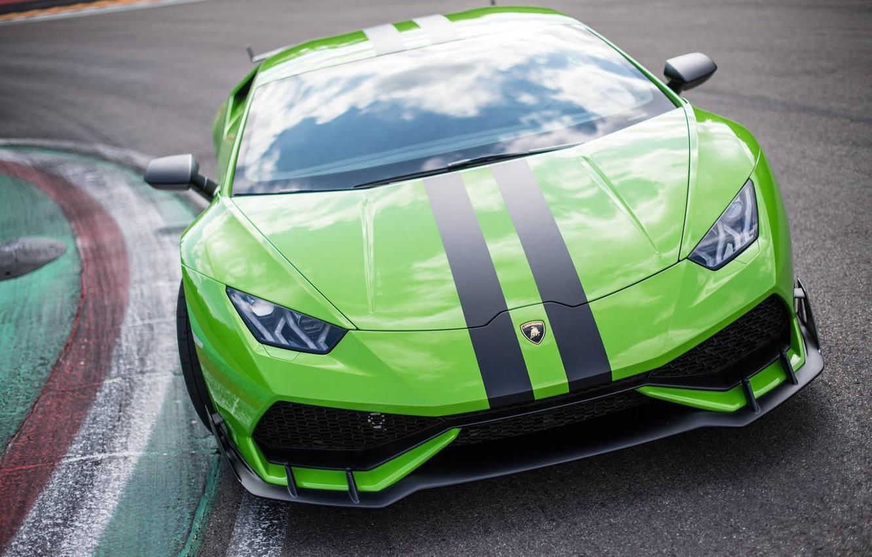 Photo wallpaper green, lamborghini, huracan, aerodynamic, testdrive