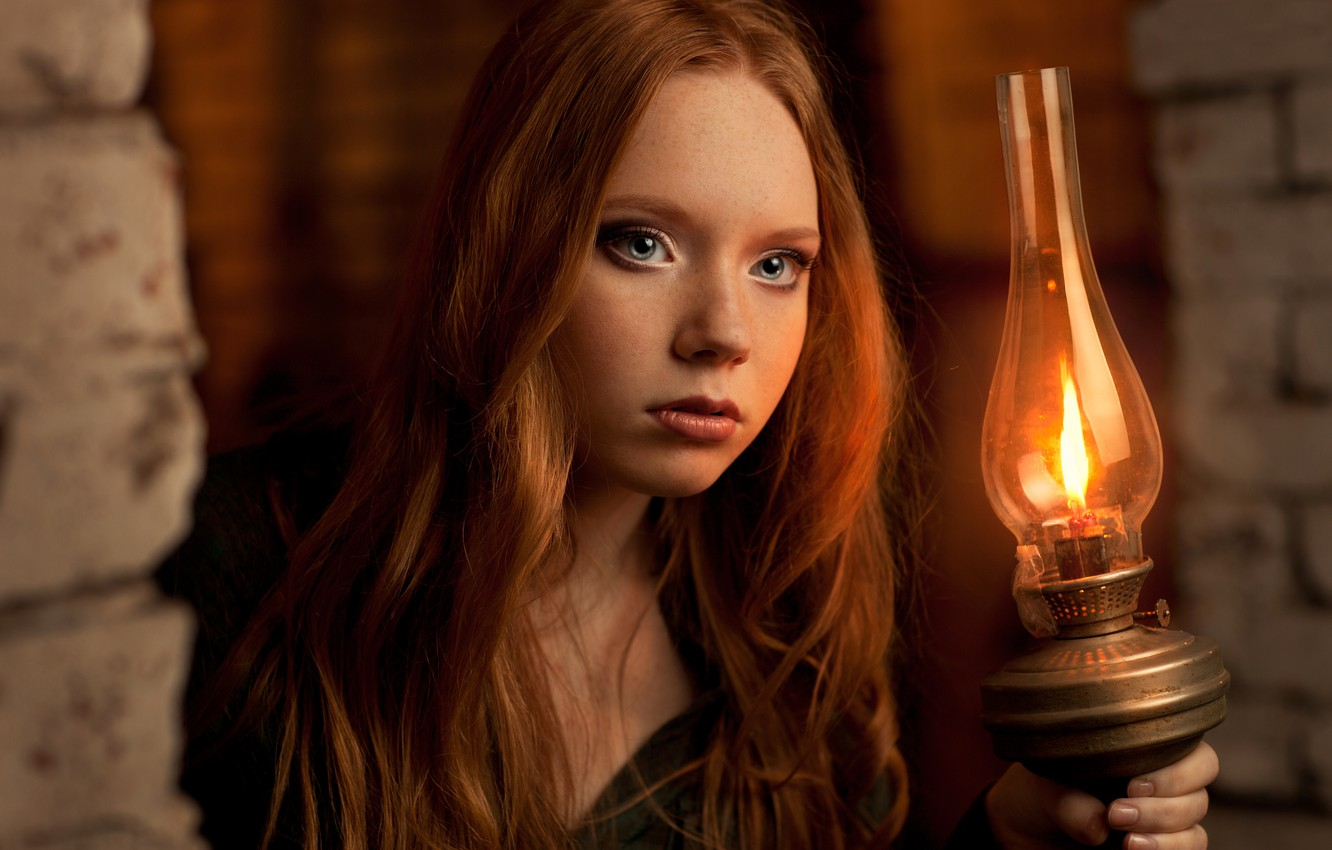 Photo wallpaper light, lamp, portrait, redhead