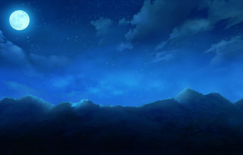 Photo wallpaper the sky, clouds, mountains, night, nature, the moon, anime, art, cura, monobeno