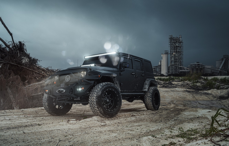 Photo wallpaper Car, Fuel, Black, Jeep, Wrangel