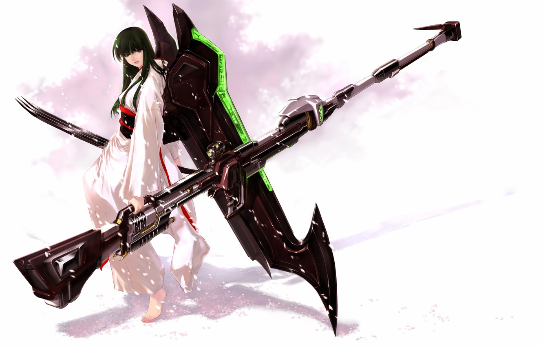 Photo wallpaper girl, weapons, anime, art, kimono, super robot wars, jian huang, uka nagisa