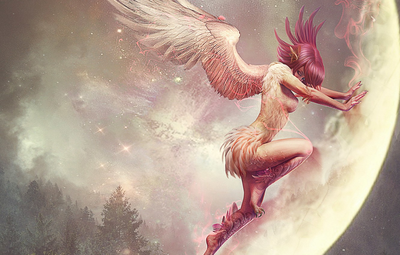 Photo wallpaper girl, fantasy, the moon, wings, anime, the demon, art, earth. planet