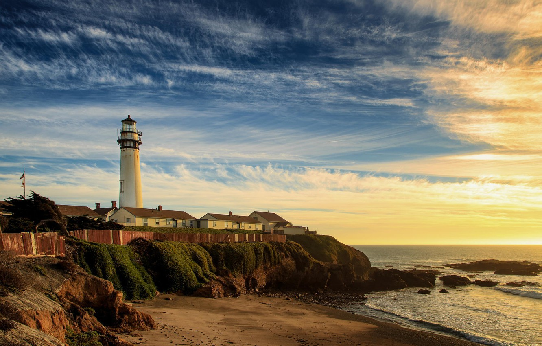 Photo wallpaper sea, beach, shore, lighthouse
