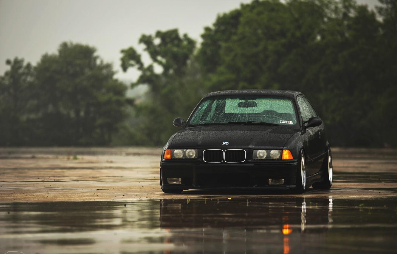 Photo wallpaper rain, BMW, BMW, black, black, E36