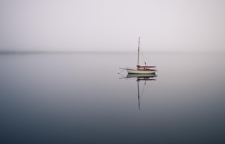 Photo wallpaper sea, fog, boat