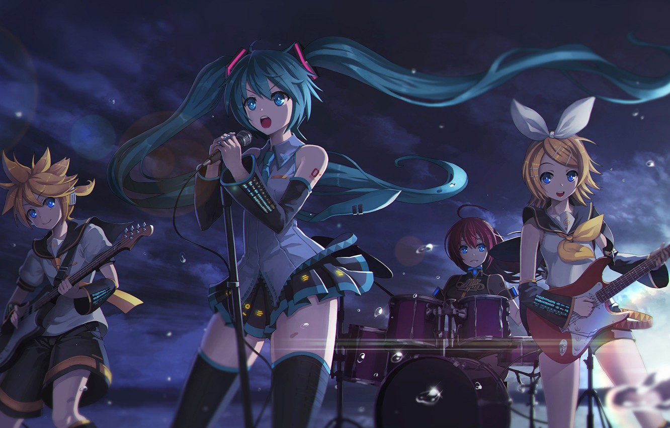 Photo wallpaper the sky, clouds, drops, sunset, girls, guitar, group, anime, art, microphone, guy, vocaloid, hatsune miku, …