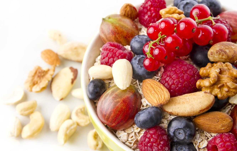 Photo wallpaper berries, Breakfast, nuts, muesli