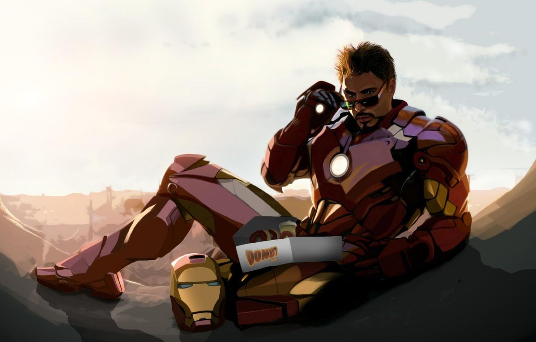 Photo wallpaper Robert Downey Jr, iron man, fan art, tony stark