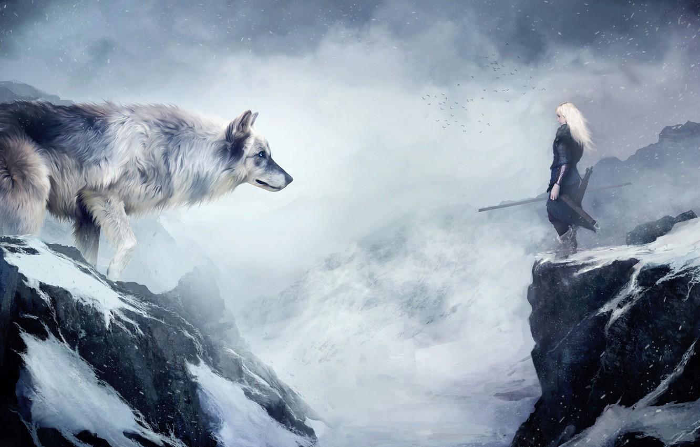 Photo wallpaper snow, mountains, wolf, Girl