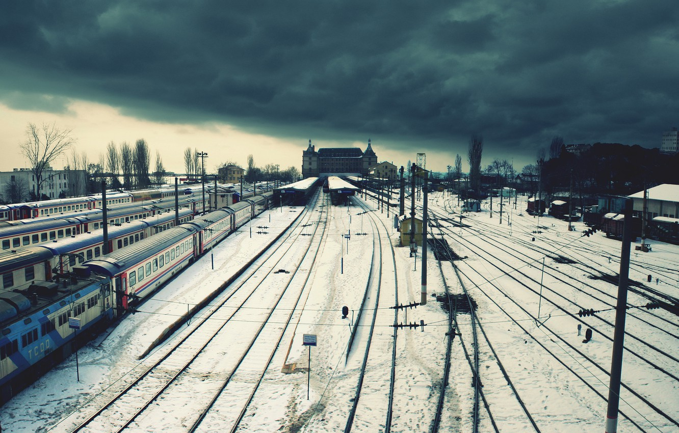 Photo wallpaper winter, clouds, loneliness, wire, station, railroad, trains