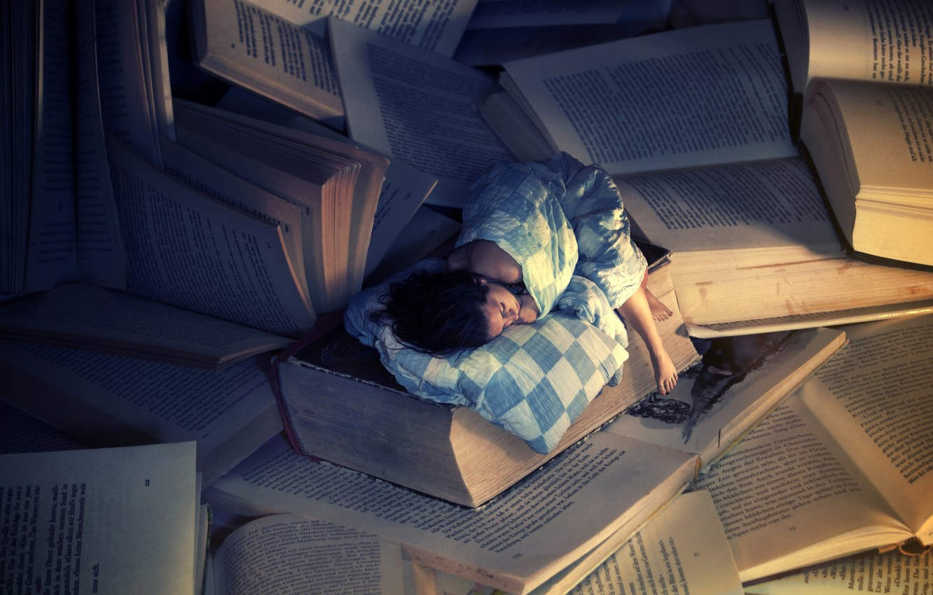 Photo wallpaper girl, background, Wallpaper, books, sleep, the situation, wallpapers