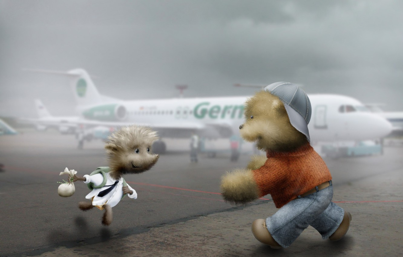 Photo wallpaper meeting, Hedgehog, airport, bear