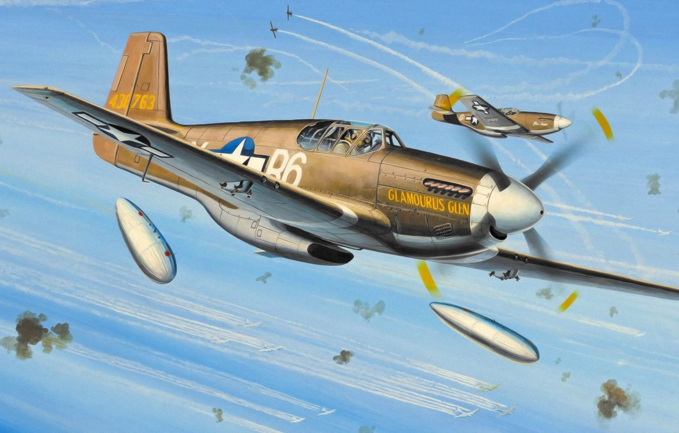 Wallpaper War Art Painting Ww2 P 51 Mustang Images For Desktop