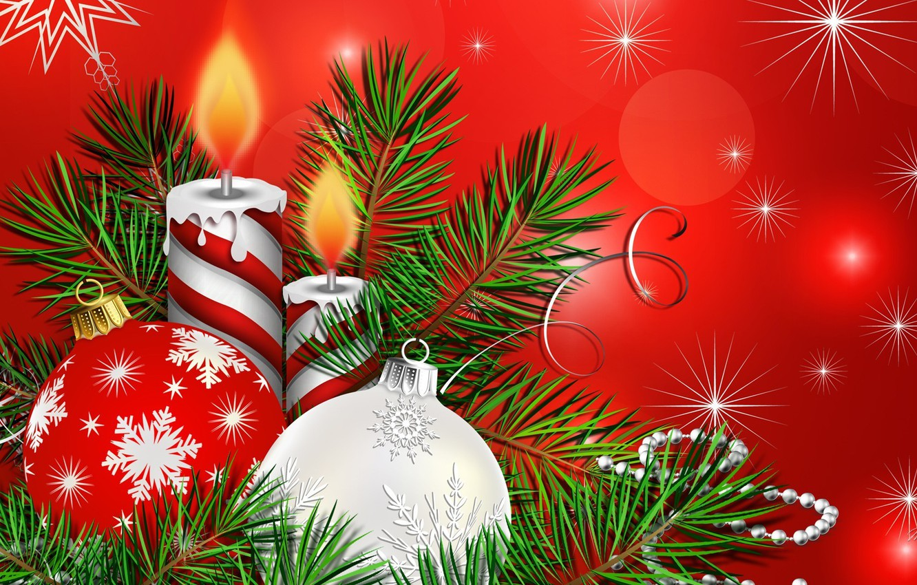 Wallpaper Balls Holiday Collage Christmas Candle Images