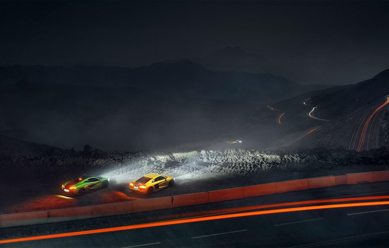 Photo wallpaper Audi, McLaren, Green, Yellow, Supercars, 570S, R8