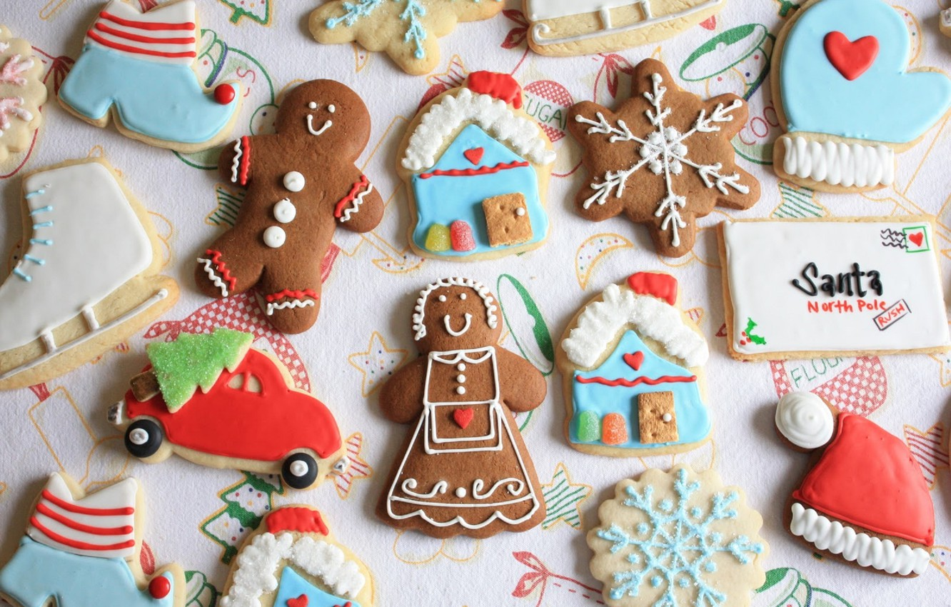 Photo wallpaper machine, letter, holiday, hat, tree, new year, cookies, man, house, figures, snowflake, cookies, marzipan