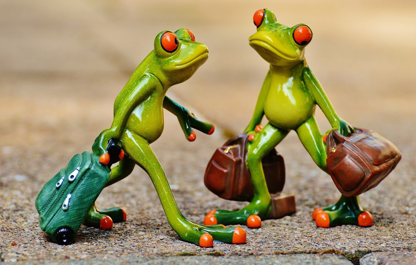 Photo wallpaper toys, frog, frogs, journey, figures, frog, suitcases, tourists