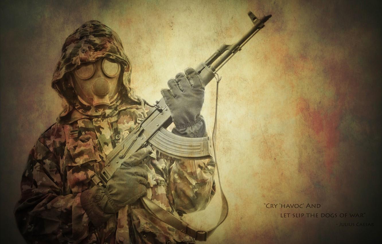 Photo wallpaper weapons, the inscription, hood, gas mask, male, Kalash