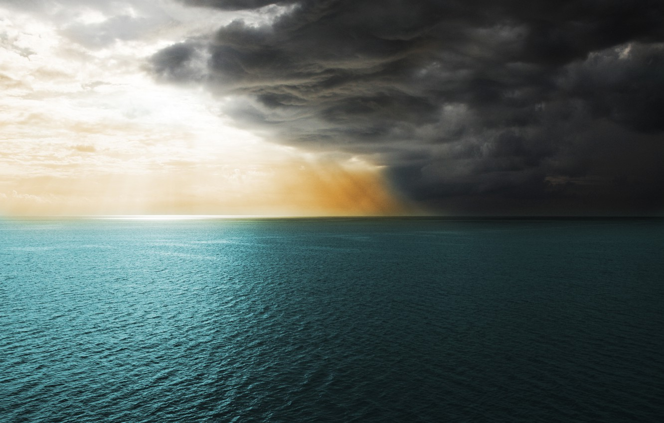 Photo wallpaper sea, the sky, water, clouds, clouds, the ocean, the wind, landscapes