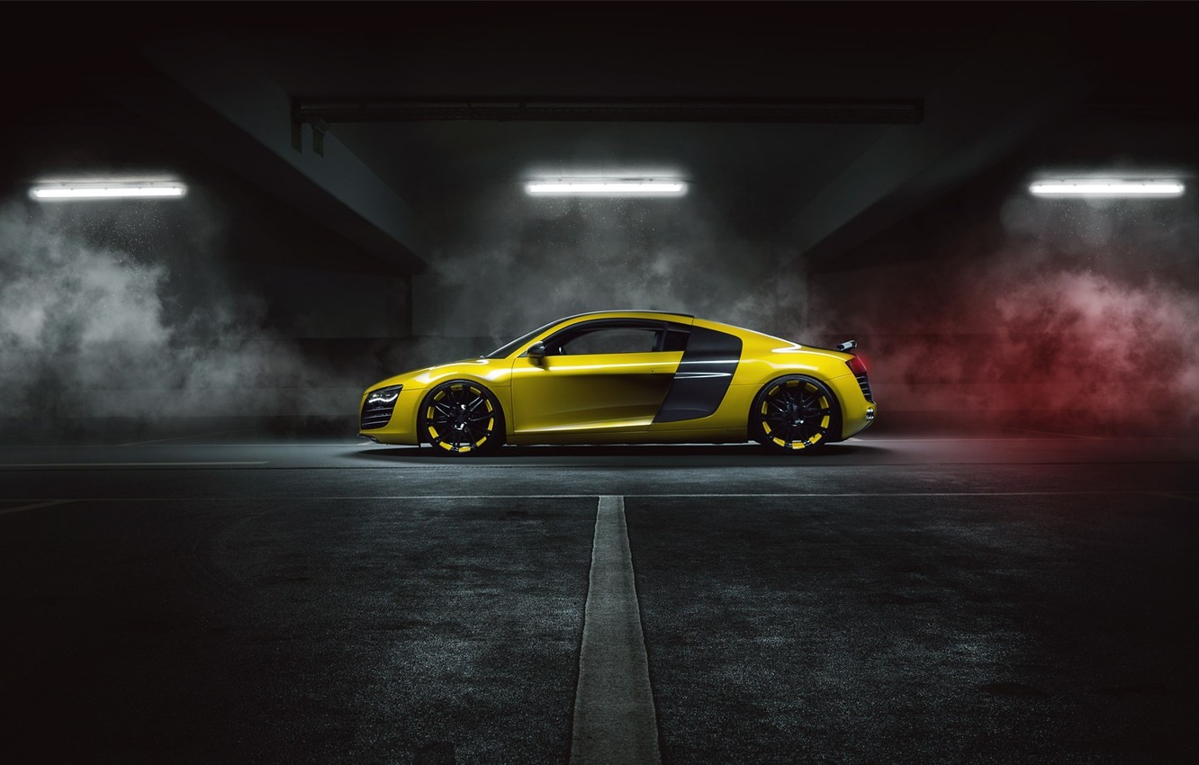 Photo wallpaper Audi, Yellow, Side, Smoke, Supercar, MTM