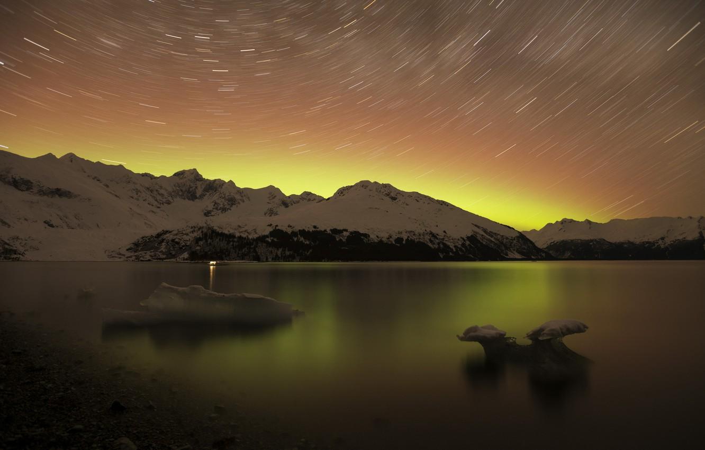 Photo wallpaper landscape, mountains, night, nature, lake, stars