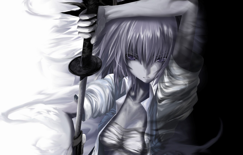 Photo wallpaper girl, white, figure, sword, katana, black, touhou