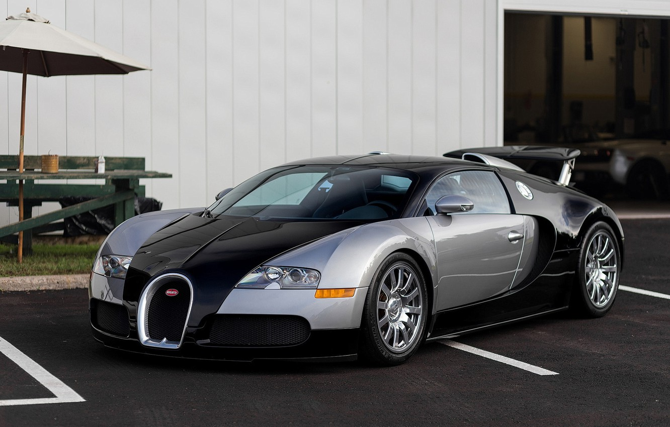 Photo wallpaper Bugatti, Veyron, Black, Silver