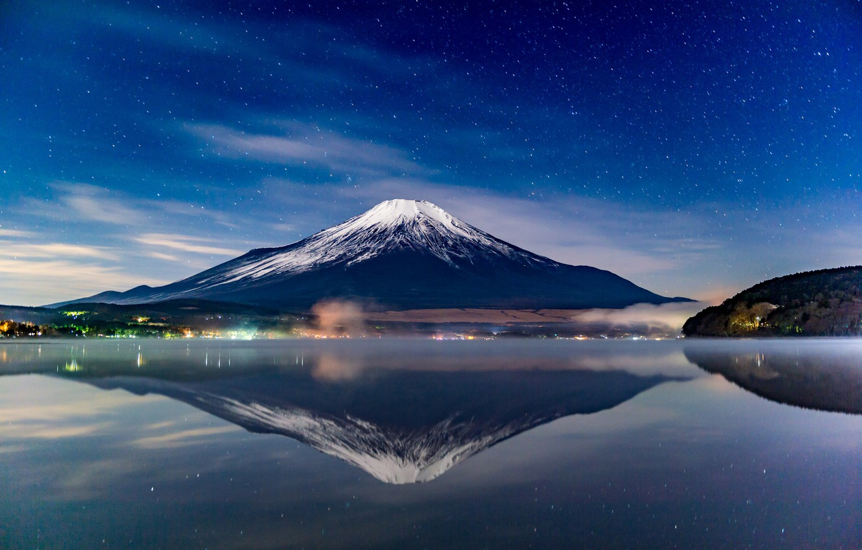 Photo wallpaper the sky, stars, landscape, mountain, the volcano, Japan, Fuji