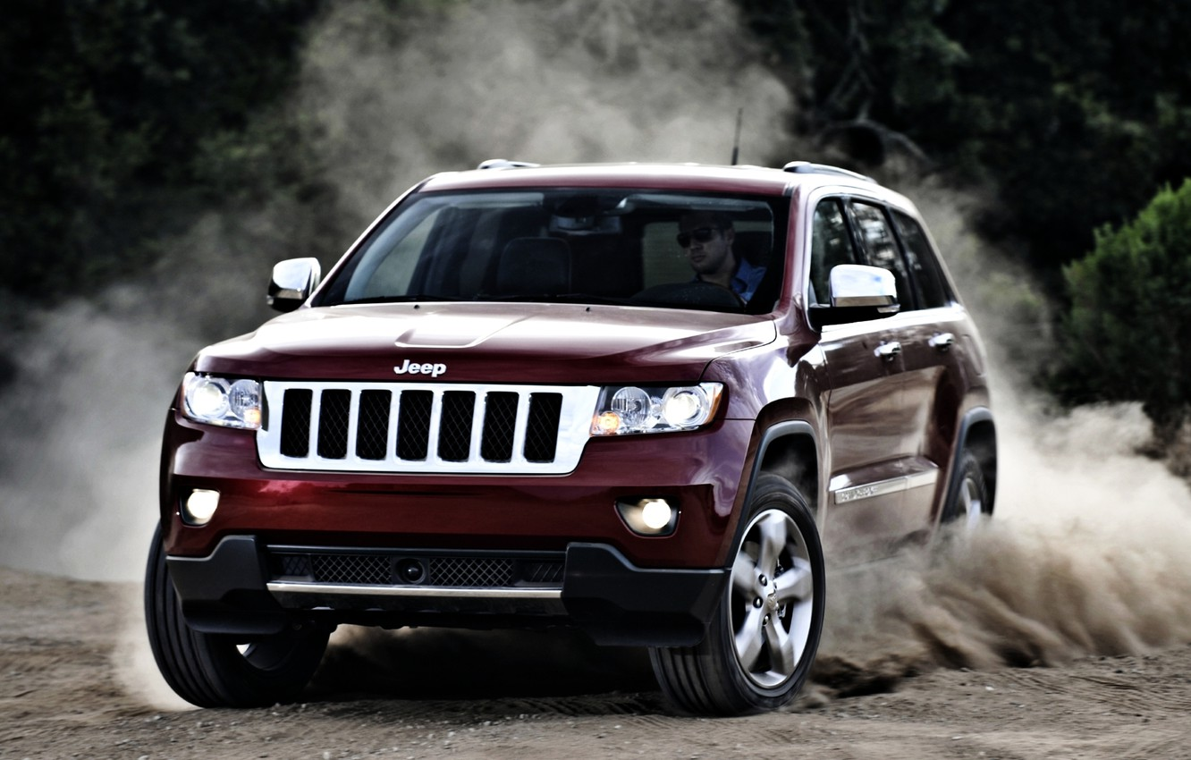 Photo wallpaper red, jeep, SUV, the front, jeep, grand cherokee, skid.dust, Grand Cherokee