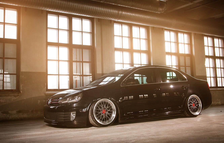 Photo wallpaper black, volkswagen, black, Volkswagen, MK6, jetta, Jetta, GTD