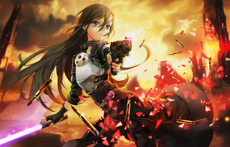 Photo wallpaper fire, flame, sword, gun, pistol, game, fighter, weapon, anime, boy, fight, MMORPG, asian, lightsaber, armour, …