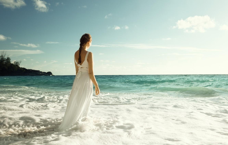 Photo wallpaper sea, wave, the sky, girl, back, dress