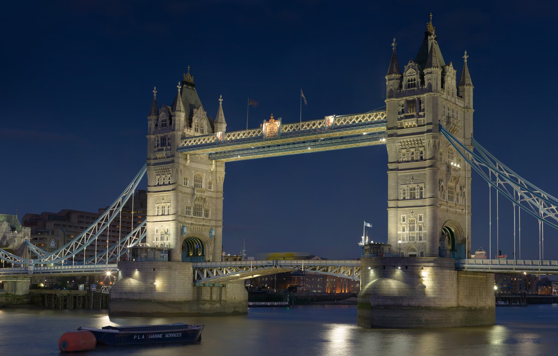 Photo wallpaper night, river, Wallpaper, boat, England, London, UK, Thames, wallpaper, Tower bridge, Tower Bridge, capital, The …