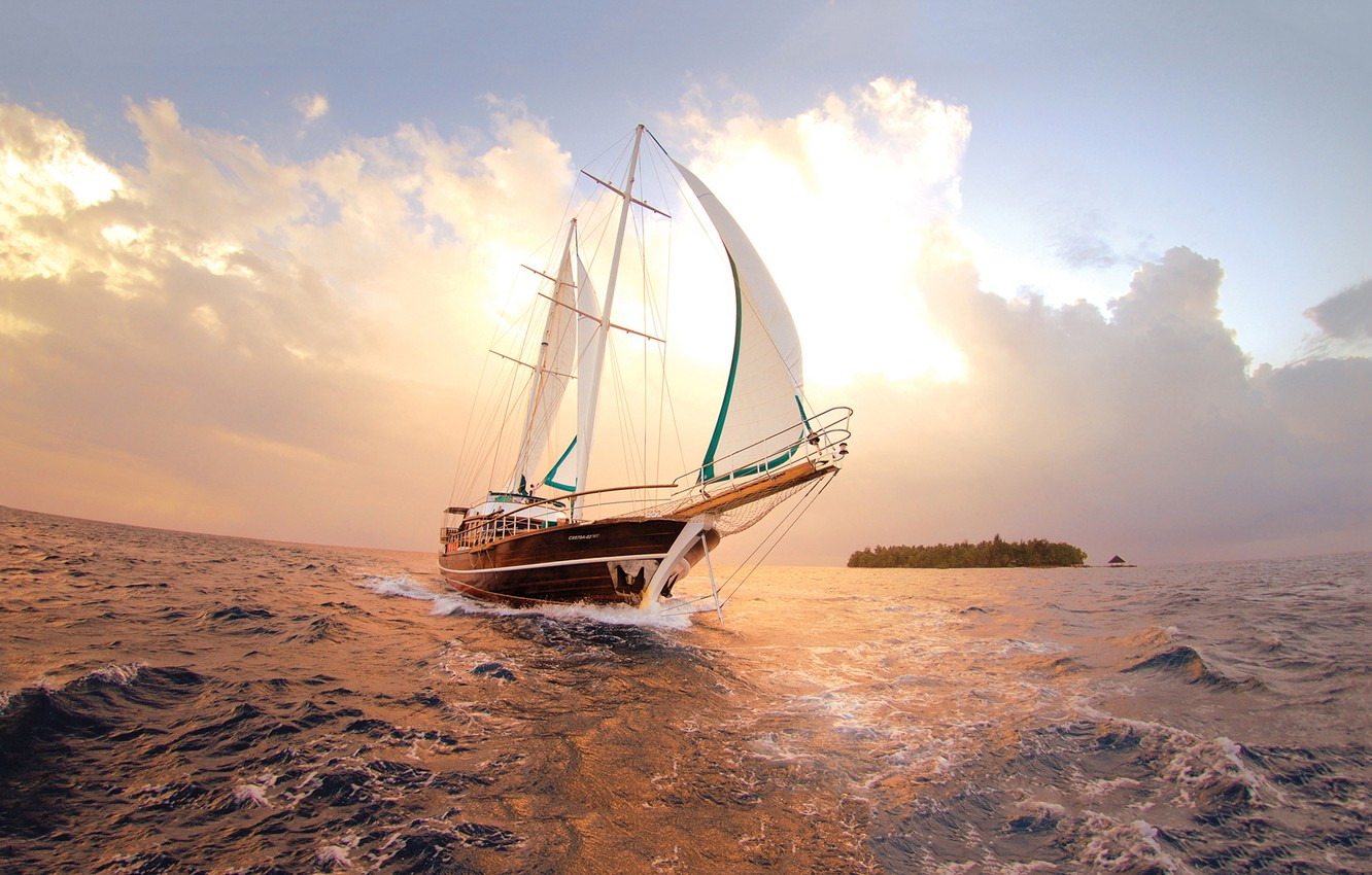 Photo wallpaper sea, the sky, clouds, the ocean, island, sailboat, yacht