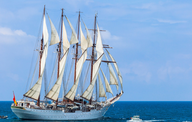 Photo wallpaper sea, sailboat, boat, schooner, Juan Sebastian de Elcano